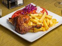 Combo - 1/4 Pollo a la brasa marinado en especias + Papas fritas + Ensalada + Ají + Cremas