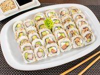 Promo 1: 18 rolls surtidos - 6 california + 6 salmon grill + 6 bs as
