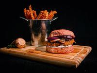 Hamburguesa Smize vegetariana doble con papas fritas