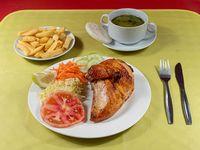 Promoción - 1/4 Pollo asado + 2 agregados + consomé