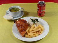 Promoción - 1/4 Pollo asado + 2 agregados + consomé + bebida lata 350 ml