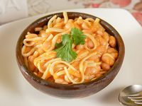 Porotos con rienda (sin carne) + gaseosa 220 ml + pan + cubierto