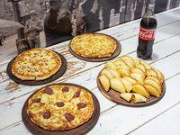 Promo - 3 pizzas a elección + 2 docenas de empanadas + 2 gaseosas 1.5 L