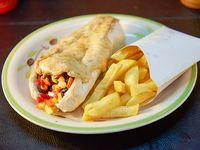 As vegano + porción de papas fritas + bebida 350 ml