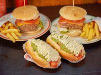Kids combo 1 - 2 top burger + 2 vienesas italianas llanquihue + 2 porciones de papas fritas + 4 bebidas 350 ml