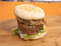 Hamburguesa chipa burger vegana