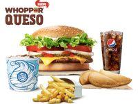 Nueva Whopper queso + papas + bebida+ empanadas + King Fusión.