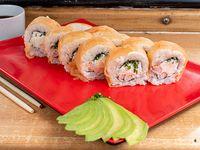 Roll de camarón, queso crema y cebollín, envuelto en salmón (10 piezas)