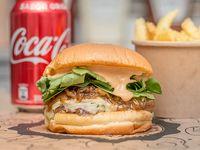 Promo - Burger Memphis blue + papas fritas +  bebida 350 ml