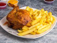 Promo - 1/4 pollo + papas fritas