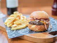 Burger basic con papas fritas
