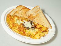 Omelette de mozzarella y champiñones