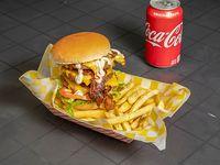 Triple burger + papa+Soda