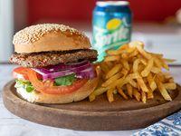 Promoción - Hamburguesa completa  + papas fritas + bebida 350 ml