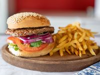 Promoción - Hamburguesa completa  + papas fritas