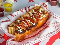 New York hot dog + papas 150 g + bebida 350 ml