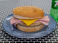 Promo - Hamburguesa con jamón y queso + gaseosa en botella 240 ml