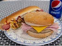 Promo - Hamburguesa con jamón y queso + pancho con aderezos + Papas pay + gaseosa en lata 354 ml
