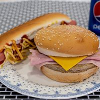 Promo - Hamburguesa con jamón y queso + pancho con aderezos + Papas pay + gaseosa en lata 240 ml