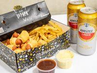 Mini salchis con papas del Dr. En caja grande + 4 salsas + amstel lager 500cc