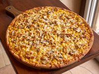 Pizza pimentón, champiñón, choclo y queso vegano