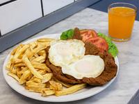 Promo - Milanesa de ternera con 2 huevos fritos + gaseosa línea Pepsi en lata 354 ml