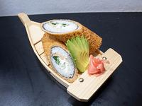 Hand roll furay, con champiñón, queso y cebollin