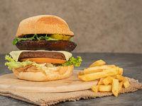 Vegan Herbs Burger + Papas Francesa