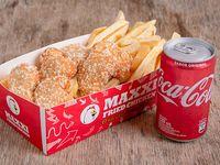 Nuggets de pollo + papas fritas + gaseosa 220 ml