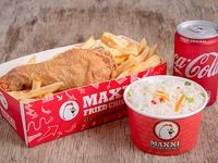 Combo 1 - Porción de pollo frito + arroz + papas fritas + gaseosa 220 ml