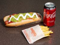Combo - Hot dog extra 19 cm + bebida 350 ml + papas fritas individuales