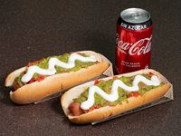 Combo - 2 hot dogs extra +  bebida 350 ml