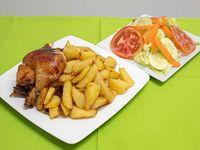 Promo - 1/4 pollo a la brasa + papas fritas + ensalada + cremas