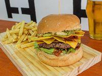 Duck Hunt burger con papas fritas