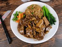Stuffed beef with spices and rice