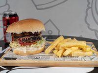 Combo Doble hamburguesa clásica + papas fritas + bebida lata de 350 cc