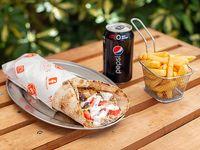 Combo Shawarma Goliat Mixto + papas fritas + bebida lata 330 ml