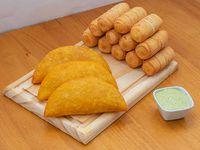 Promo - 3 empanadas grande + 12 tequeños (7 cm) + salsa