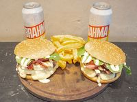 Combo 2  - 2 Hamburguesas Dobles Manhattan Beach + Papas Fritas + 2 Latas Brahama 473 ml