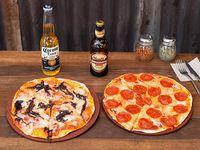 Combo cervecero - 2 pizzas + 2 cervezas a elección
