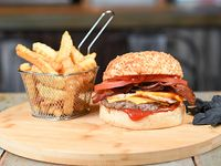 Combo - Falcon simple burger + papas crinkles
