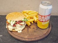Combo 1 - Hamburguesa Doble Manhattan Beach + Papas Fritas + Lata Brahama 473 ml
