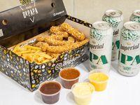 Tiritas de pollo + papas del Dr. En caja grande + 4 salsas + 4 Imperial Ipa