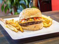 Combo - Napolitano's burger con papas fritas rústicas