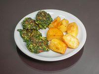 Menú vegetariano 2 - Torreja de espinaca ( 4 unidades pequeñas) con guarnición