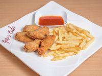 Alitas con salsa picante y papas fritas (5 unidades)