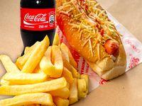 Perro grande sencillo + gaseosa cocacola 250ml+ papas a la francesa