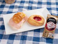 Promo - Medialuna rellena jamón y queso + ojito + capuccino en sobre