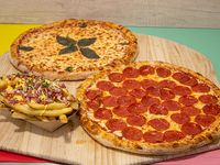 Promo -  Pizza pizza Pepper's (30 cm) + pizza margarita (30 cm) + papas fritas especiales