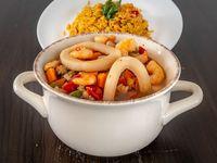 Cazuela de mariscos con arroz al curry